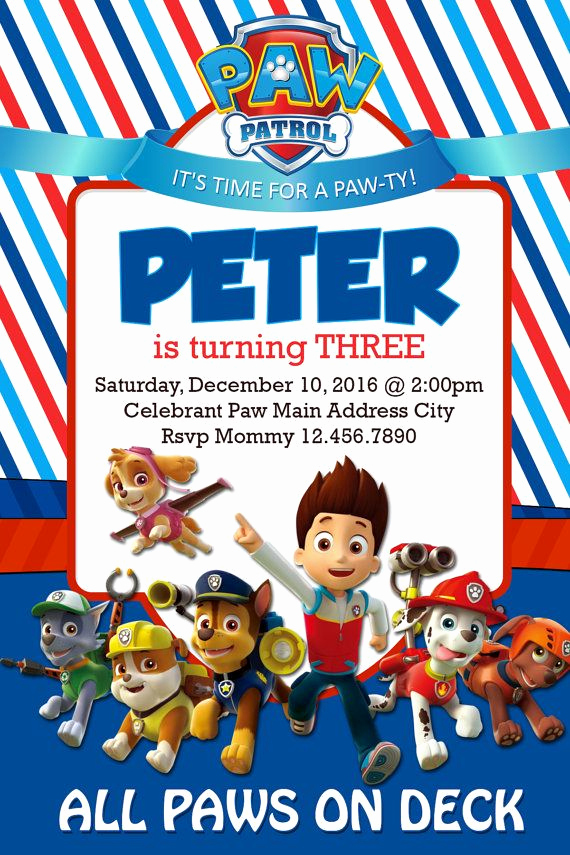 Paw Patrol Invitation Template Fresh 25 Best Ideas About Paw Patrol Birthday Invitations On