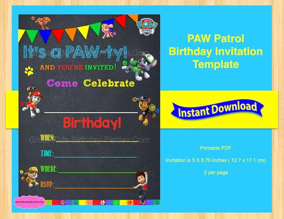 Paw Patrol Invitation Templates Beautiful Paw Patrol Invitation Template