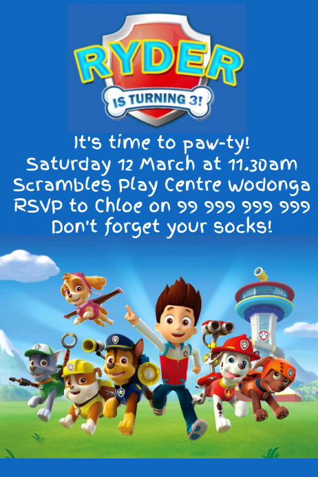 paw patrol party invitation poster template