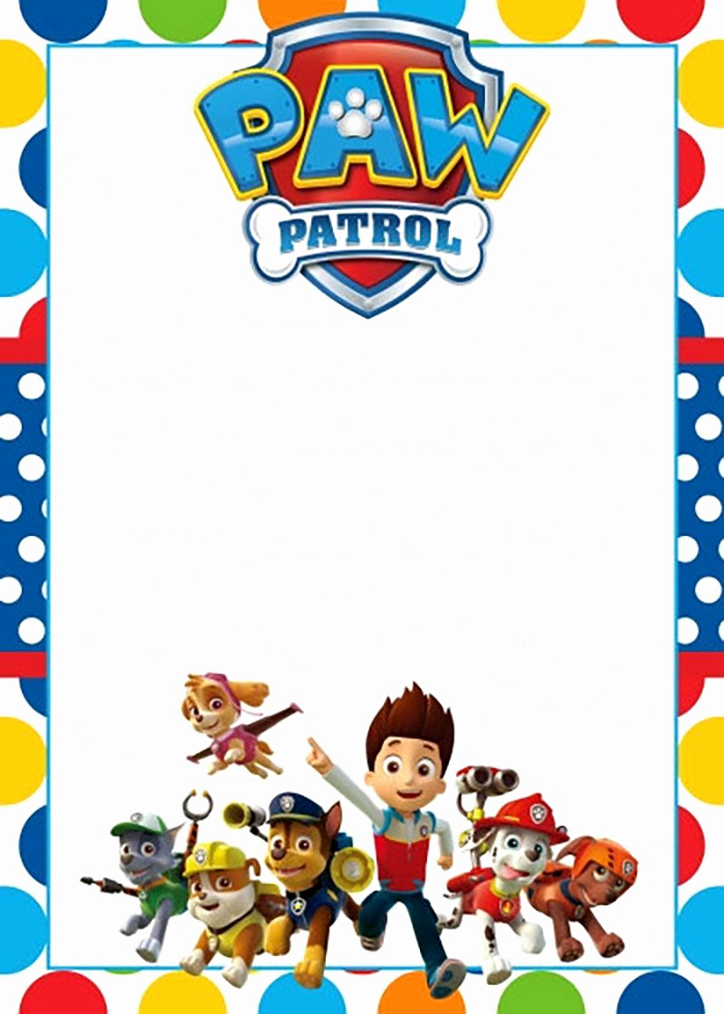 Paw Patrol Invitation Templates Fresh Free Printable Paw Patrol Invitation Template