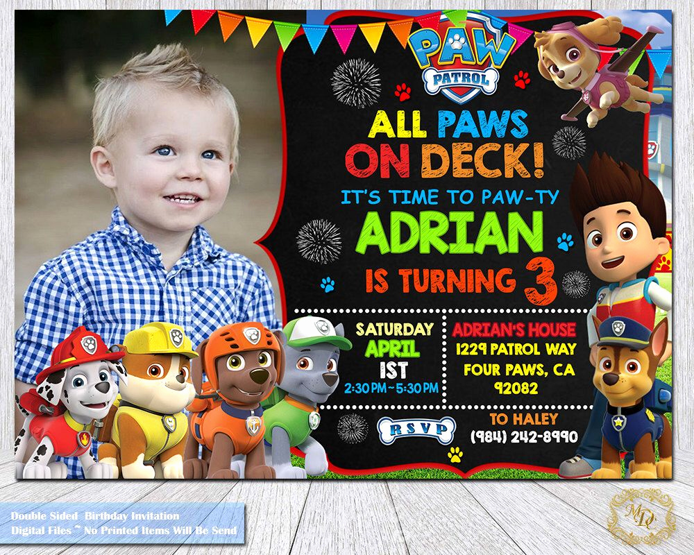 Paw Patrol Invitation Templates Inspirational Pin by Tiffany Sparks On Blaine S Bday