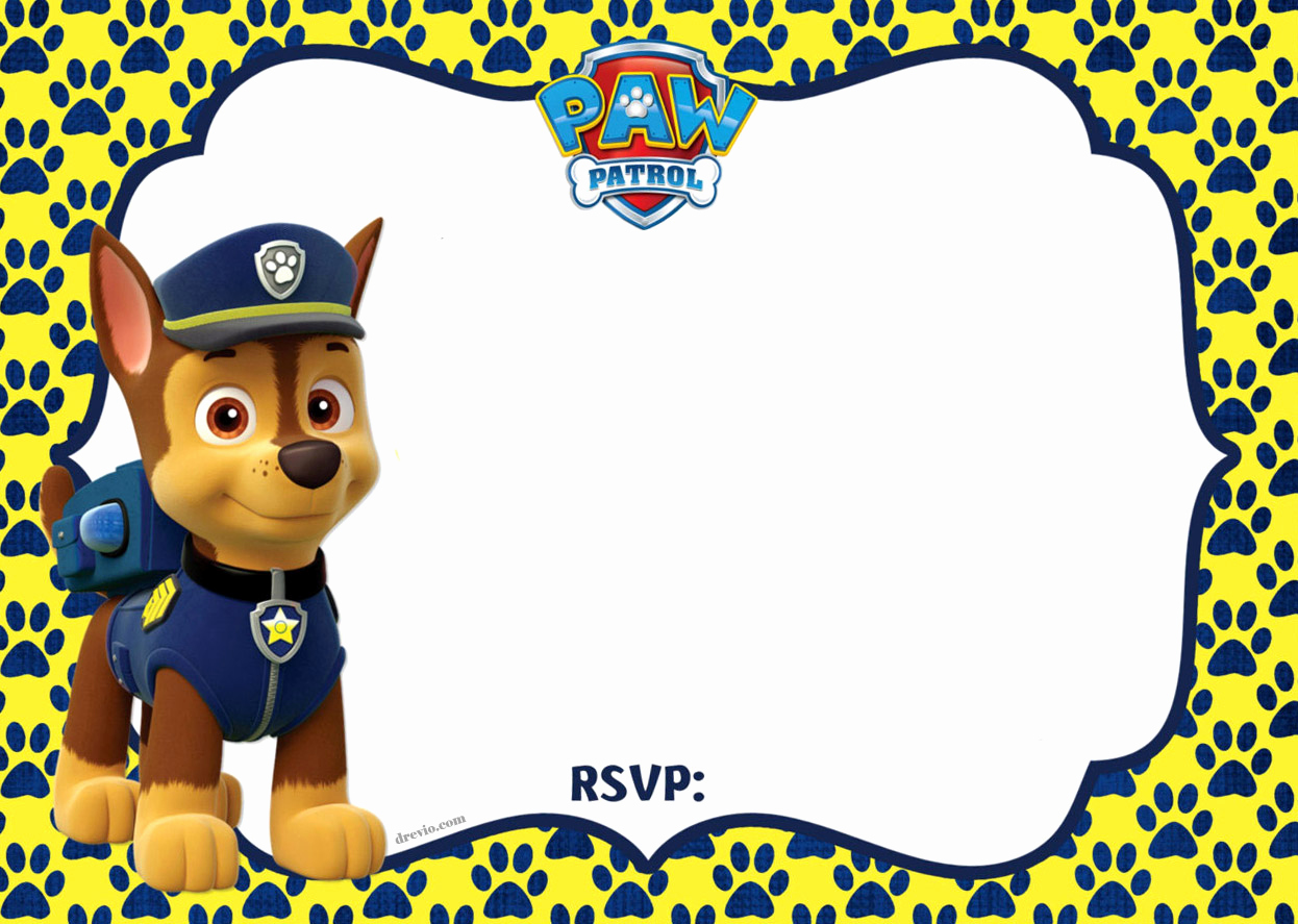 Paw Patrol Party Invitation Template Awesome Free Printable Paw Patrol Chase Invitation Template