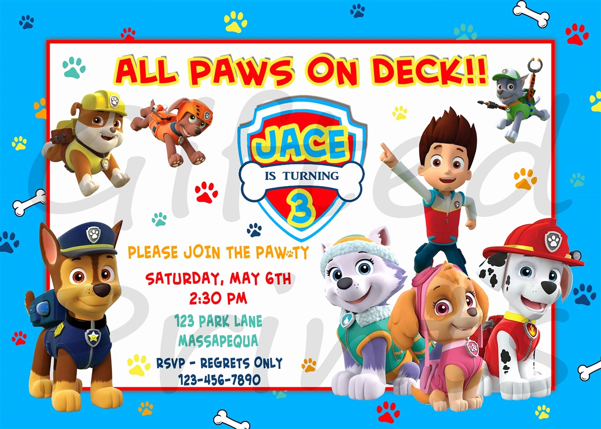 Paw Patrol Party Invitation Template Elegant Birthday Invitation Paw Patrol theme