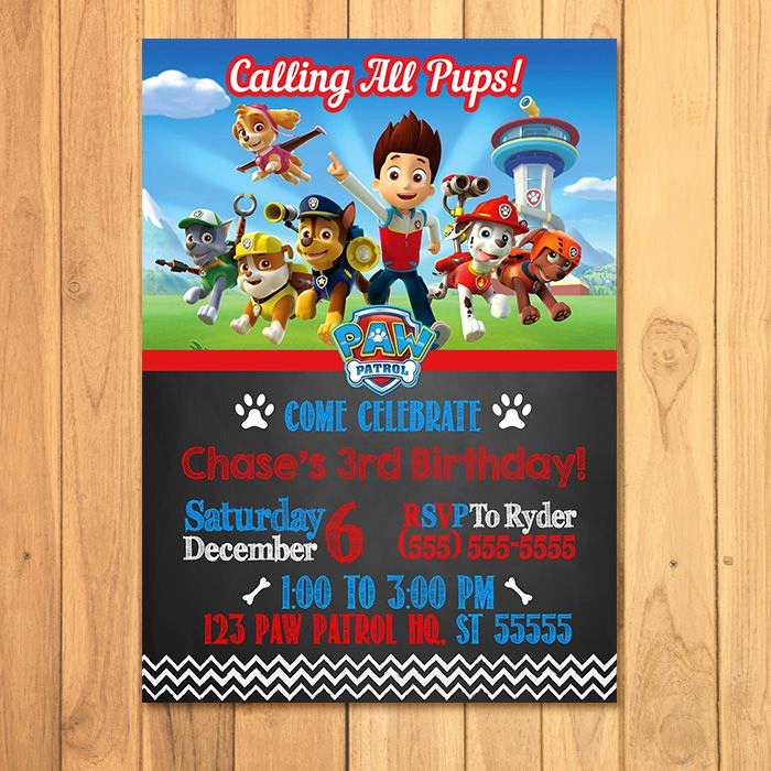 Paw Patrol Party Invitation Template Fresh Paw Patrol Invitation Chalkboard theme Free Paw Patrol