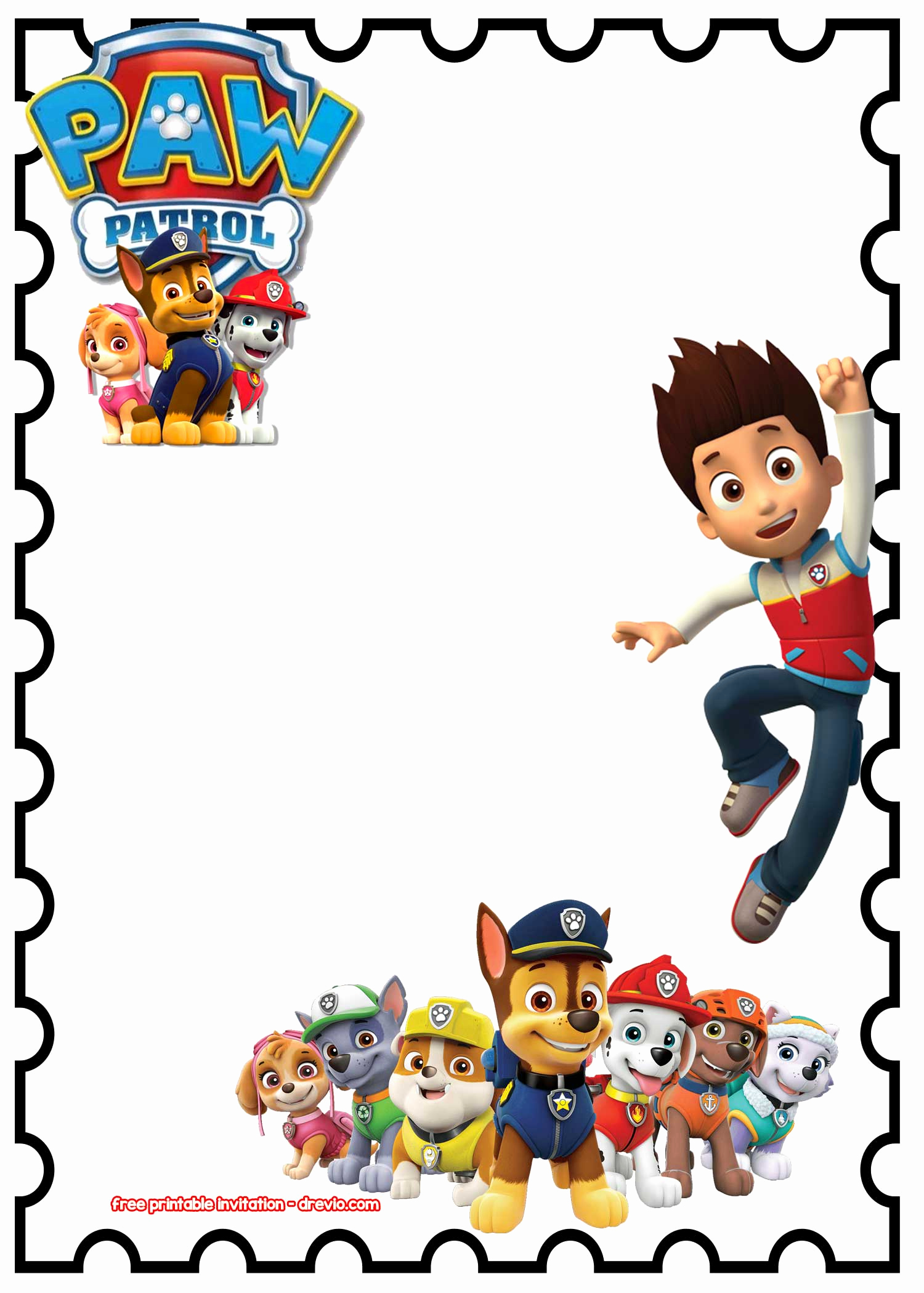 Paw Patrol Party Invitation Template Lovely Free Printable Paw Patrol Birthday Invitation Chalkboard