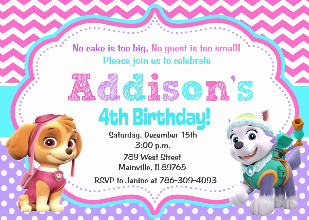 Paw Patrol Party Invitation Template Unique Paw Patrol Skye Everest Girl Birthday Party Invitation