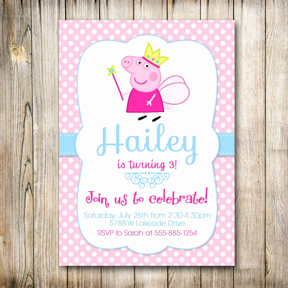 Peppa Pig Birthday Invitation Awesome Peppa Pig Invitation Peppa Invite Peppa Pig by Lovelydivine9