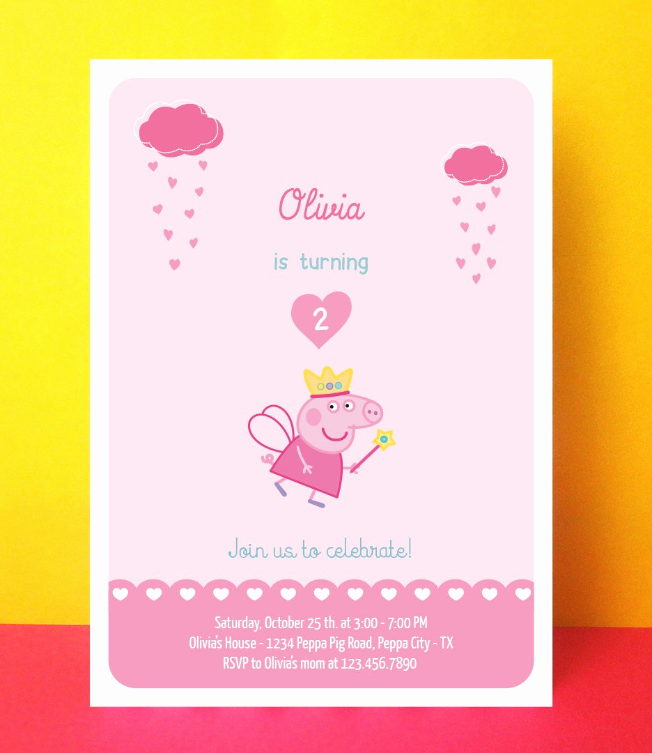 Peppa Pig Birthday Invitation Awesome Peppa Pig Invitation Printable Peppa Pig by Paperpartydesign