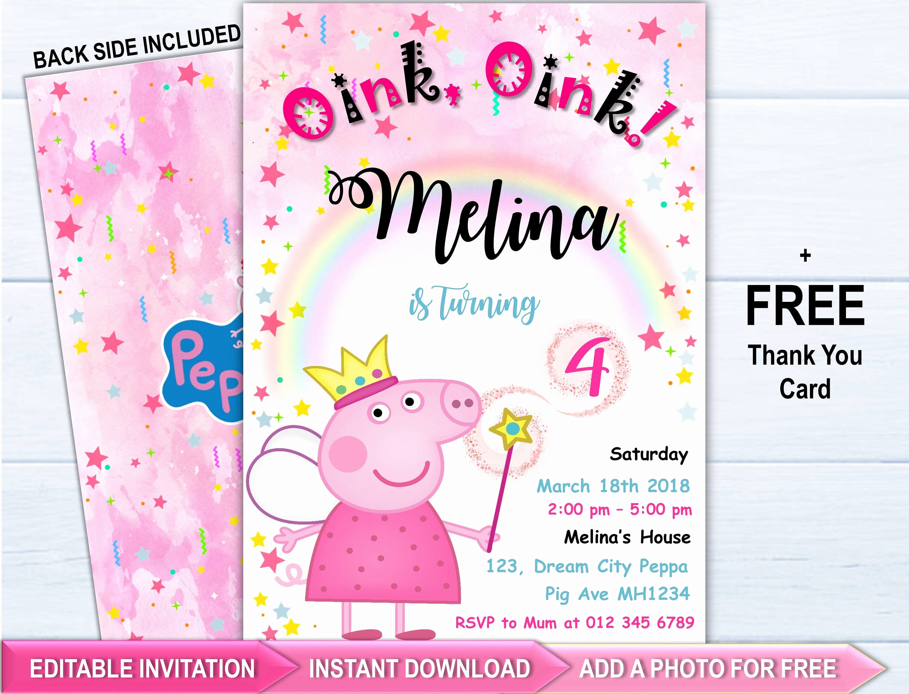 Peppa Pig Birthday Invitation Beautiful Peppa Pig Invitation Peppa Pig Party Invitation Peppa Pig