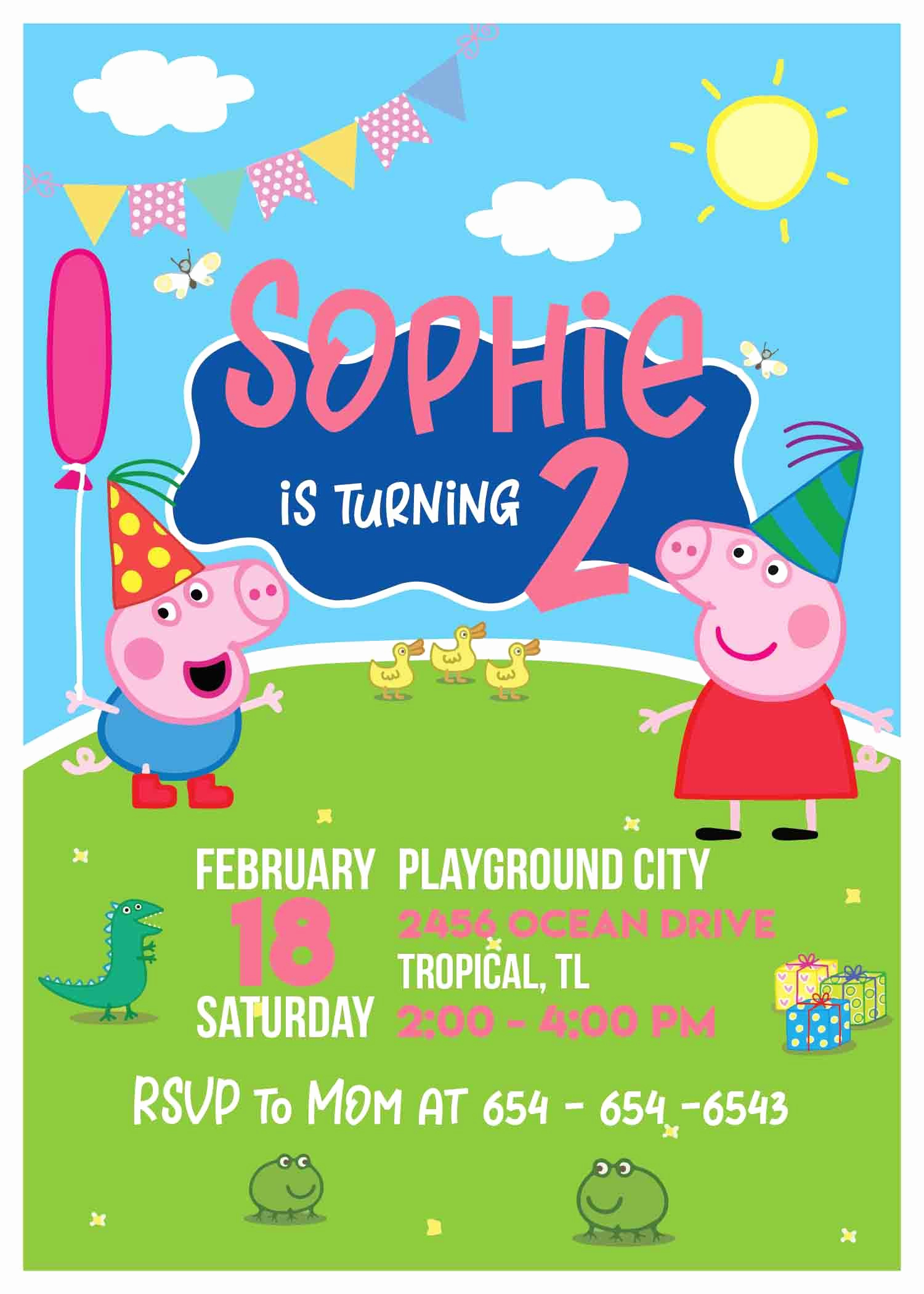 Peppa Pig Birthday Invitation Beautiful Personalized Peppa Pig Birthday Invitations