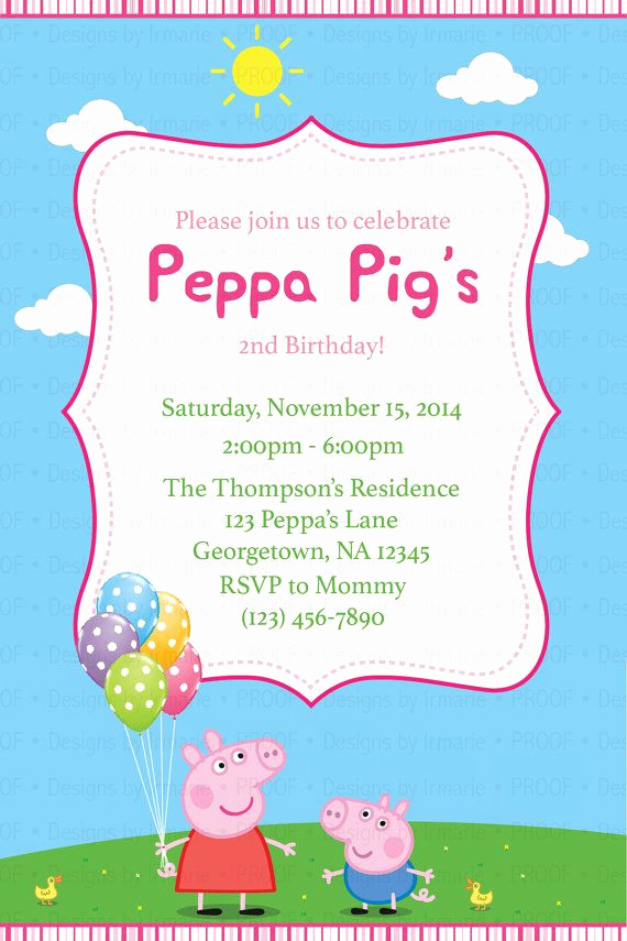 Peppa Pig Birthday Invitation Elegant Peppa Pig Birthday Invitation 1