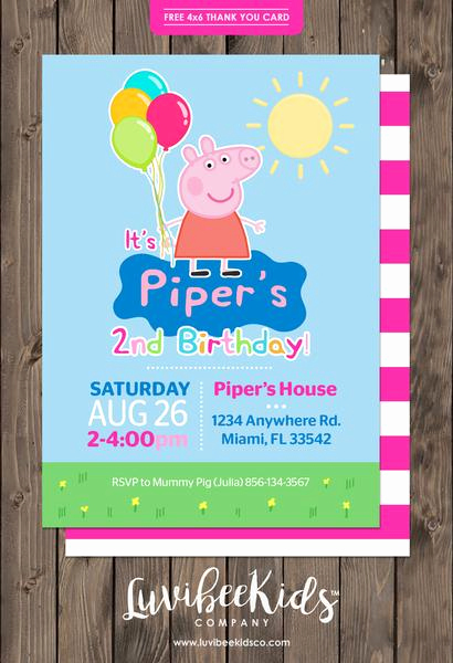 Peppa Pig Birthday Invitation Elegant Peppa Pig Birthday Invitation
