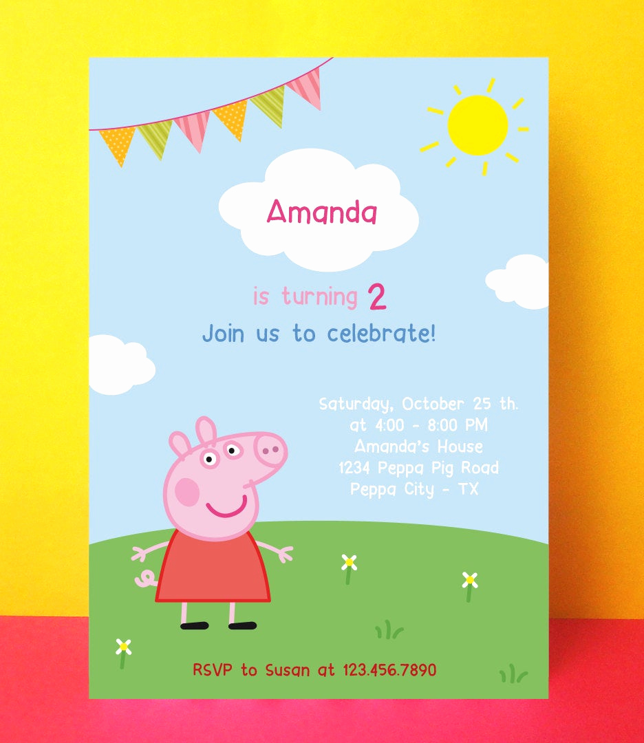 Peppa Pig Birthday Invitation Fresh Peppa Pig Invitation Peppa Pig Birthday by Paperpartydesign