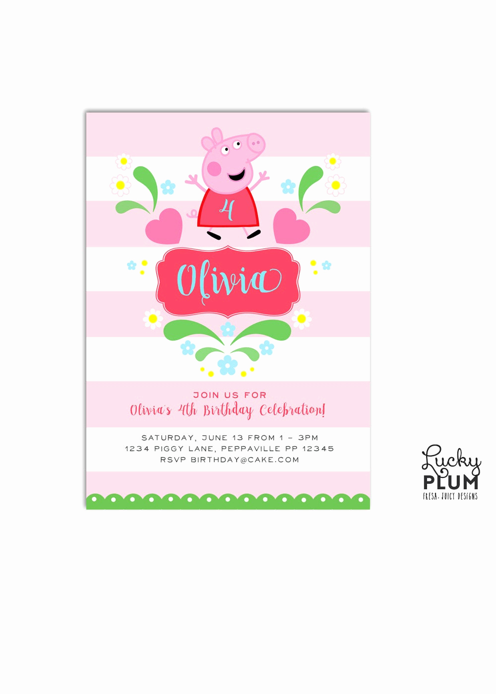 Peppa Pig Birthday Invitation Inspirational Peppa Pig Birthday Invitation Pink Birthday Invite Stripe
