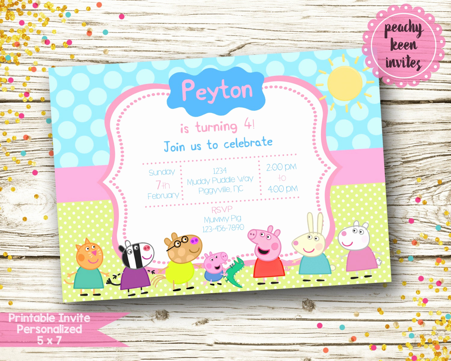 Peppa Pig Birthday Invitation Inspirational Peppa Pig Inspired Birthday Invitation Digital
