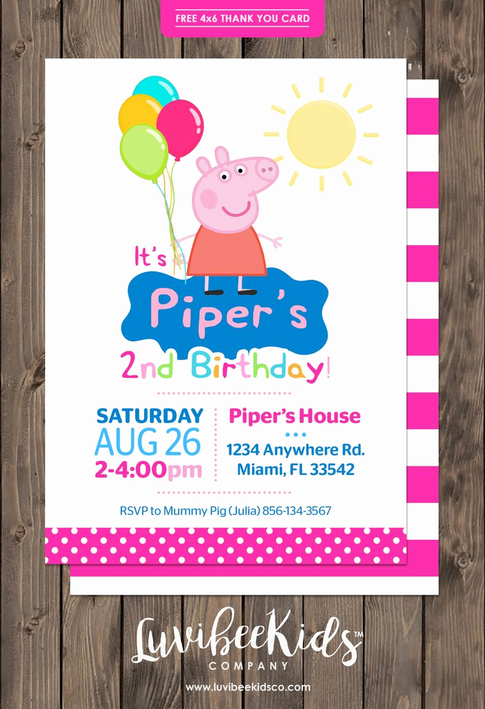 Peppa Pig Birthday Invitation Lovely Peppa Pig Birthday Invitation Dots