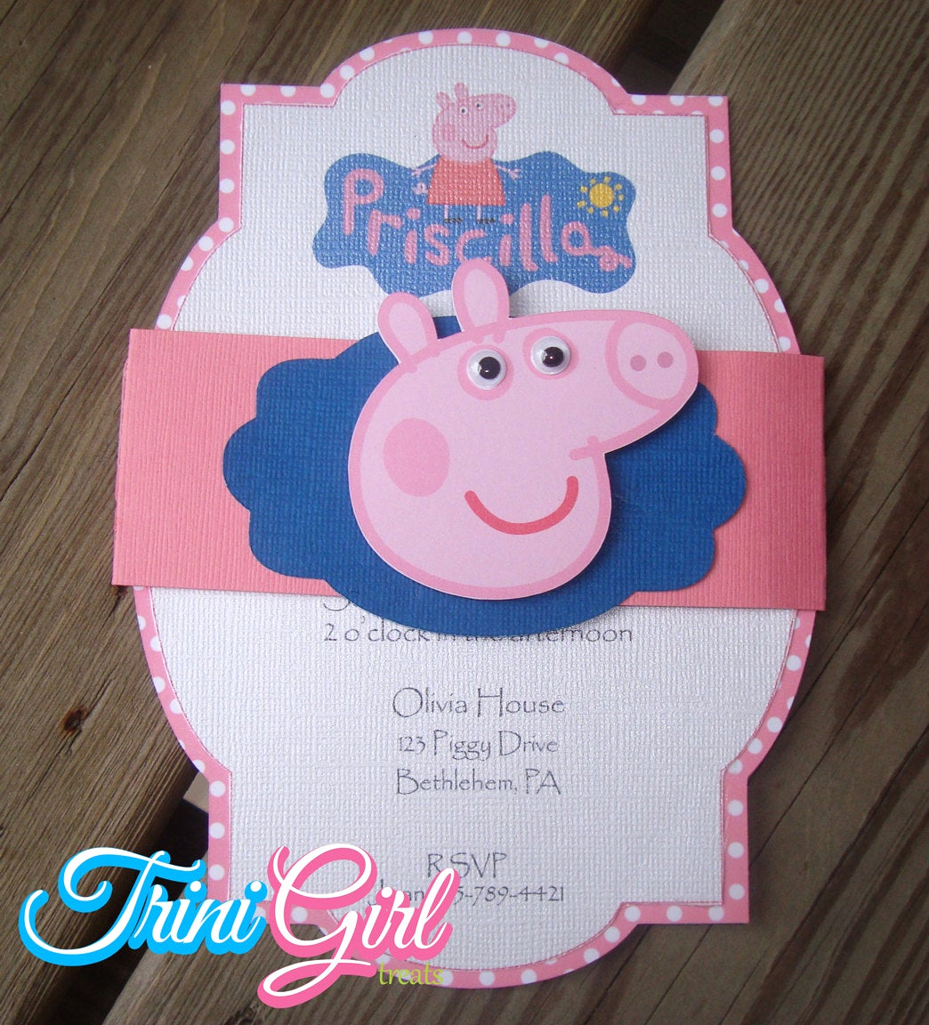 Peppa Pig Birthday Invitation New Peppa Pig Inspired Invitation