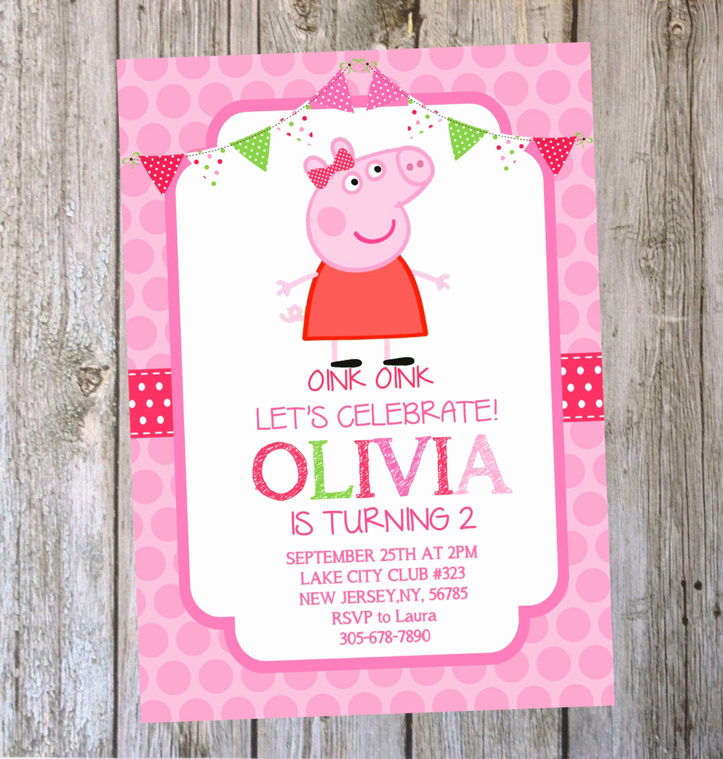 Peppa Pig Birthday Invitation New Printable Peppa Pig Birthday Invitation Digital by