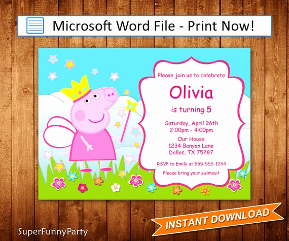 Peppa Pig Invitation Template Best Of Peppa Pig Invitation Editable Microsoft Word File Diy Word