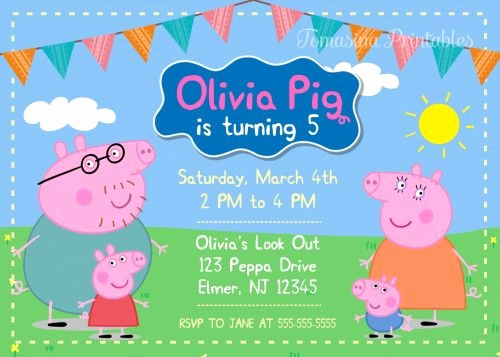 Peppa Pig Invitation Template Free Beautiful Peppa Pig Birthday Invitation Template