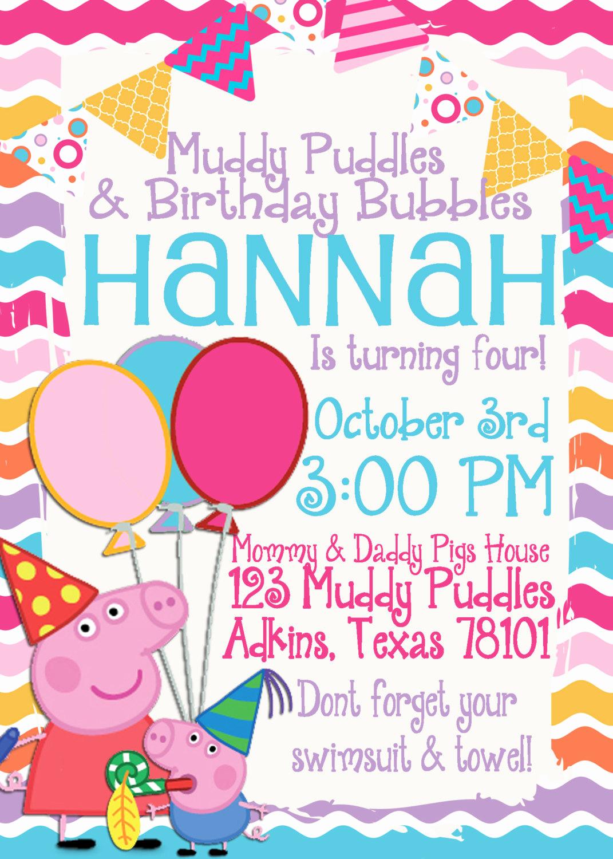 Peppa Pig Invitation Template Free Elegant Peppa Pig Birthday Invitation by Tandedesigns On Etsy