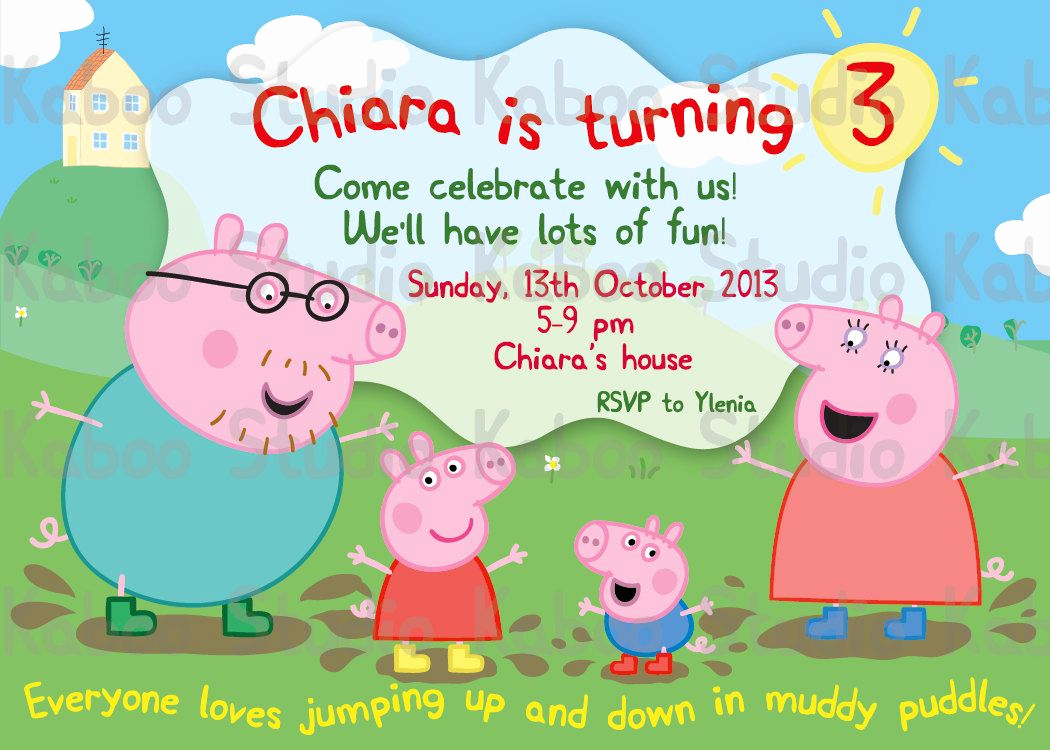 Peppa Pig Invitation Template Free Fresh Custom Invitation Muddy Invitation Peppa Pig by