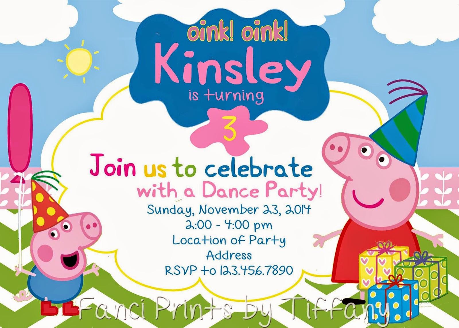 Peppa Pig Invitation Template Free Inspirational Fanci Prints by Tiffany