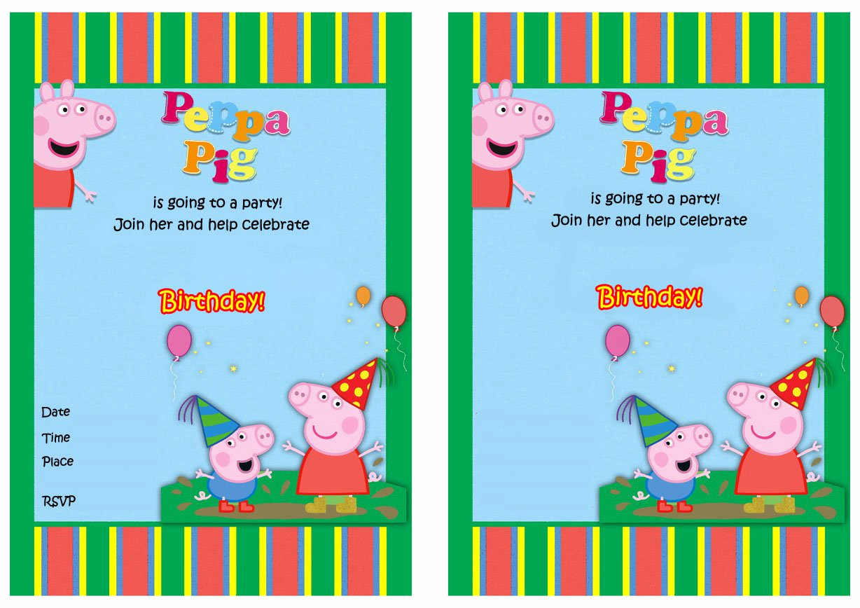 Peppa Pig Invitation Template Free Lovely Free Printable Peppa Pig Birthday Invitations