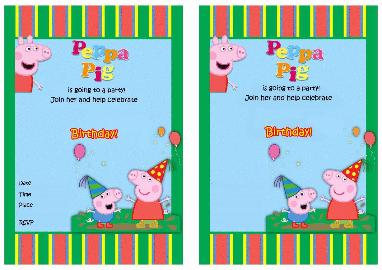 Peppa Pig Invitation Template Free Lovely Free Printable Peppa Pig Birthday Invitations