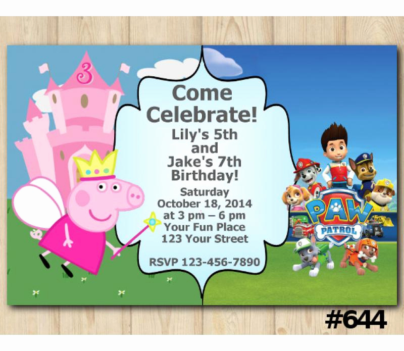 Peppa Pig Invitation Template Free Lovely Twin Peppa Pig and Paw Patrol Birthday Invitation Joint