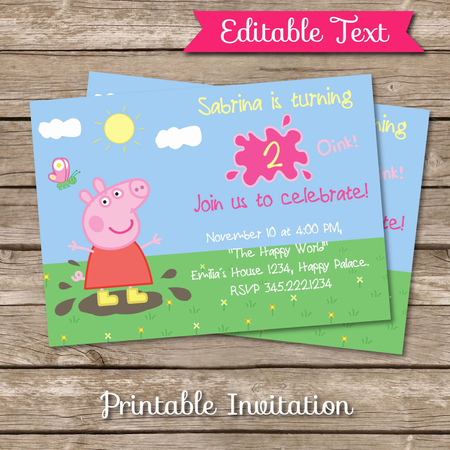 Peppa Pig Invitation Template Free Luxury Peppa Pig Inspired Printable Invitation Editable Text De