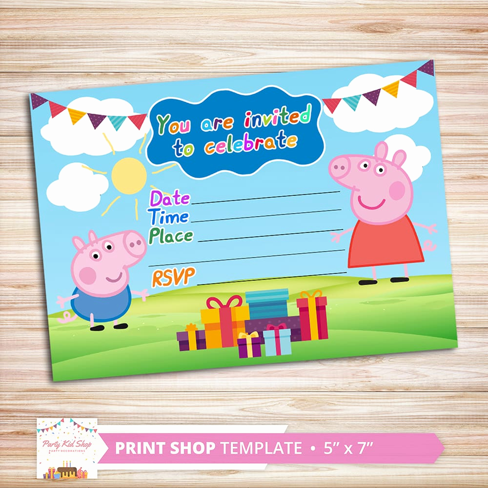 Peppa Pig Invitation Template Free Unique Peppa Pig Invitations Diy Editable Pdf Partykidshop