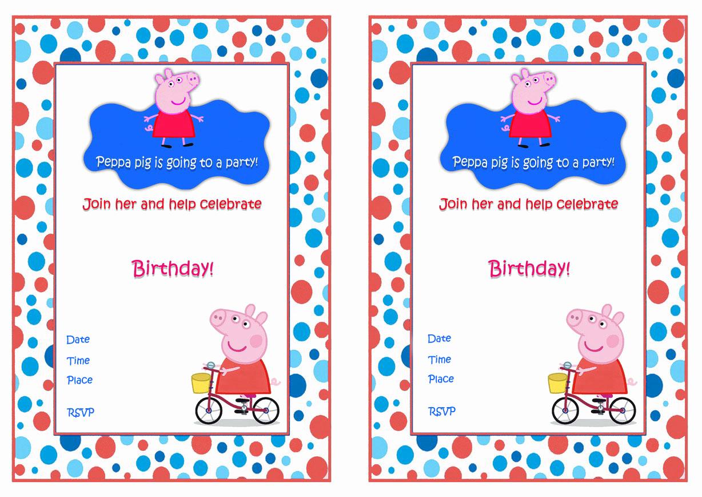 Peppa Pig Invitation Template Inspirational Peppa Pig Birthday Invitations