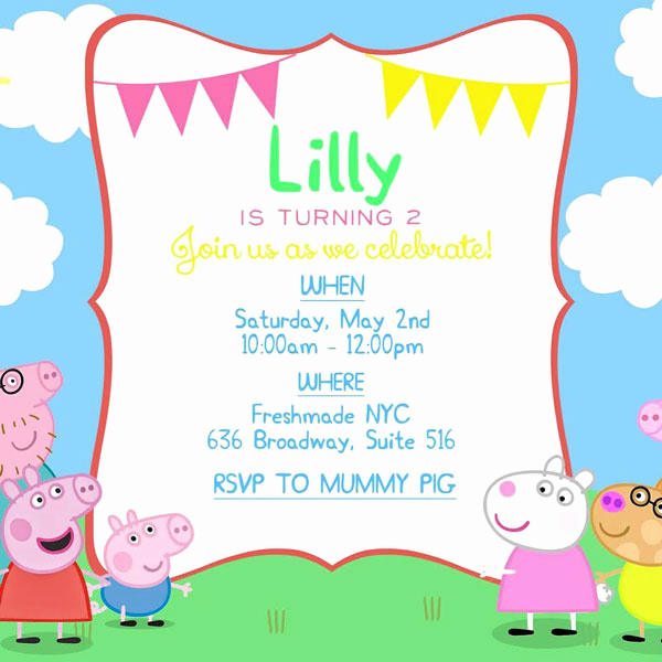 Peppa Pig Invitation Template Lovely 18 Of Peppa Pig Invitations Template Blank