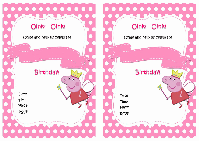 Peppa Pig Invitation Template Unique Peppa Pig Birthday Invitations