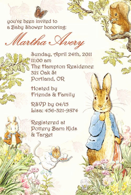 Peter Rabbit Baby Shower Invitation Awesome Peter Rabbit Beatrix Potter Baby Shower Invitation