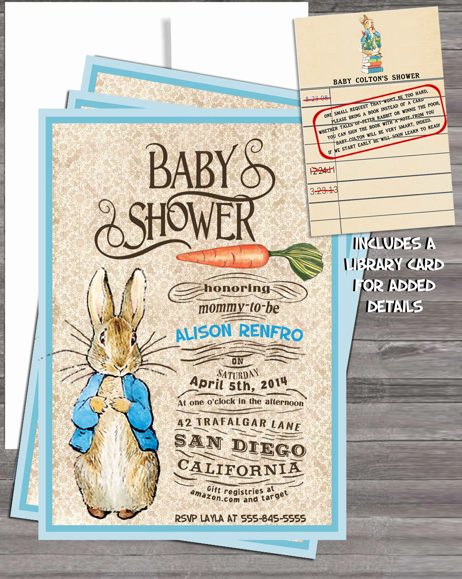 Peter Rabbit Baby Shower Invitation Awesome Vintage Peter Rabbit Beatrix Potter Baby Shower by