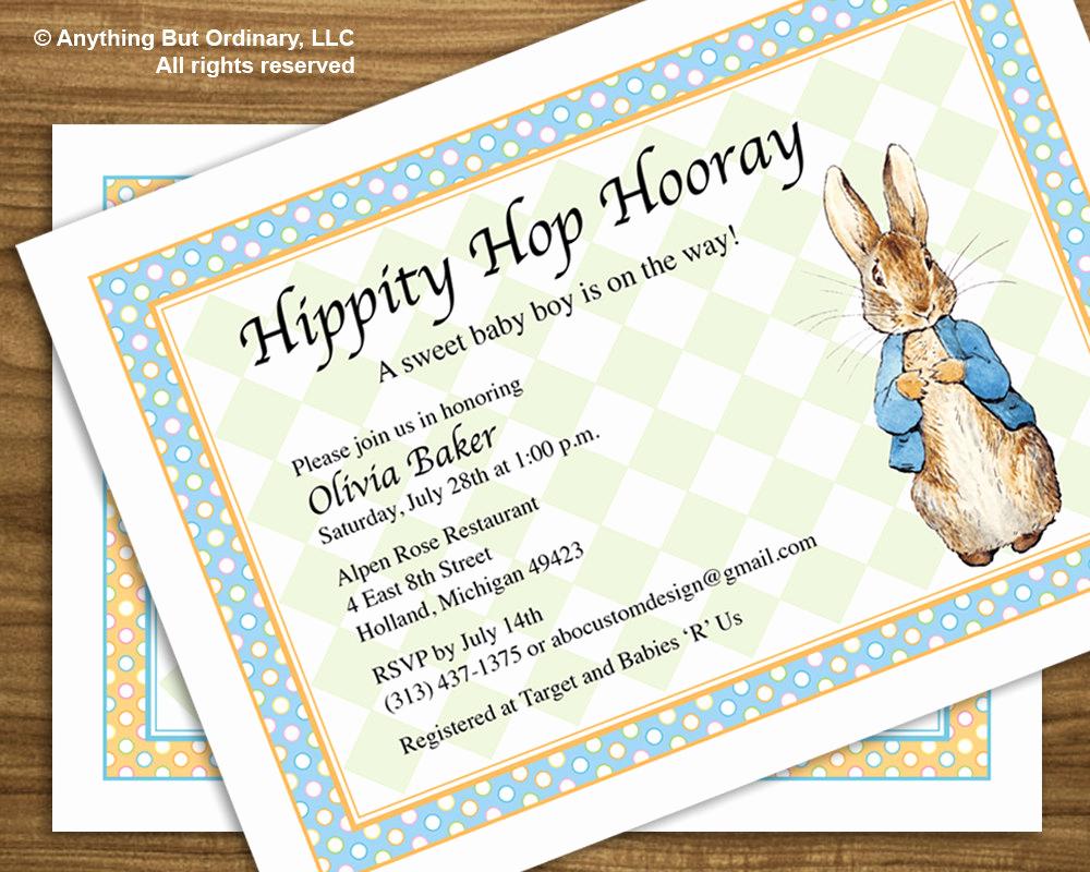 Peter Rabbit Baby Shower Invitation Beautiful Diy Peter Rabbit Baby Shower Invitation by Abocustomdesign