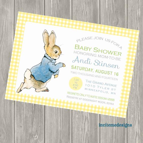 Peter Rabbit Baby Shower Invitation Elegant Items Similar to Peter Rabbit Baby Shower Invitation