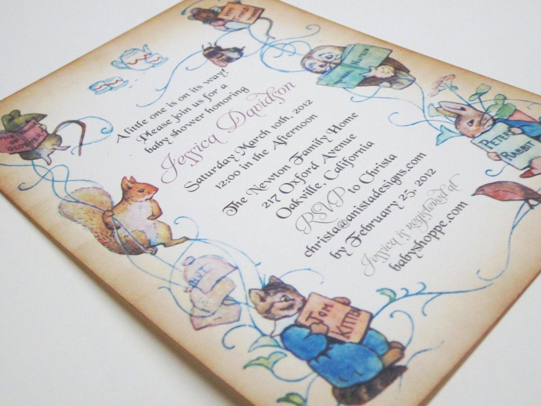 Peter Rabbit Baby Shower Invitation Fresh Baby Shower Invitation Peter Rabbit Vintage by Anistadesigns
