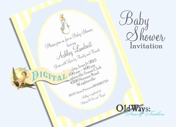Peter Rabbit Baby Shower Invitation Fresh Peter Rabbit Baby Boy Shower Invitation by
