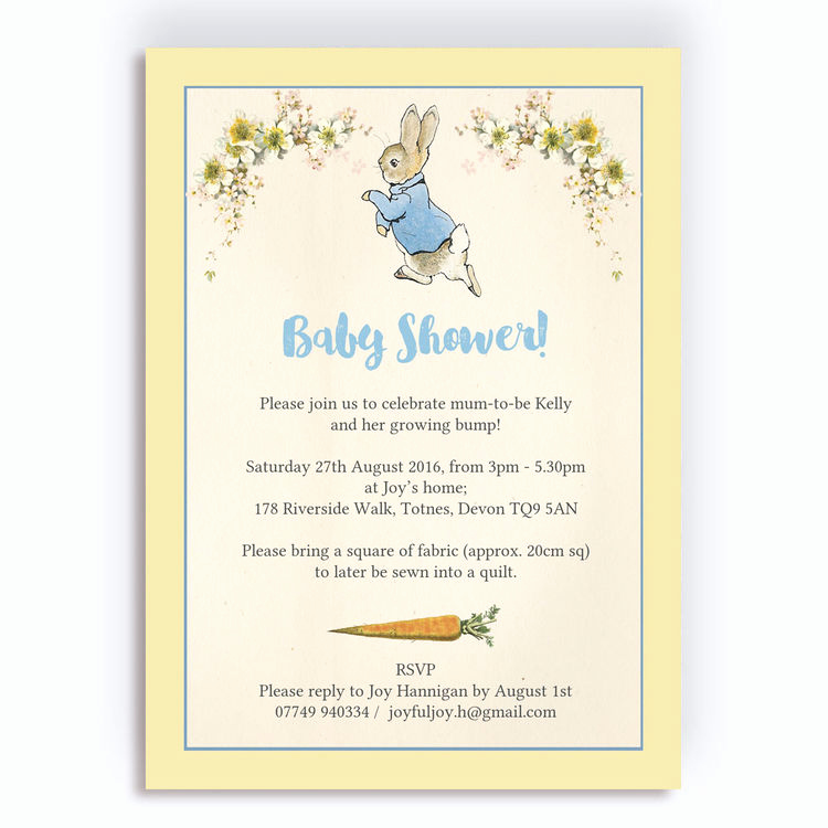 Peter Rabbit Baby Shower Invitation Fresh Peter Rabbit Baby Shower Invitation From £0 80 Each