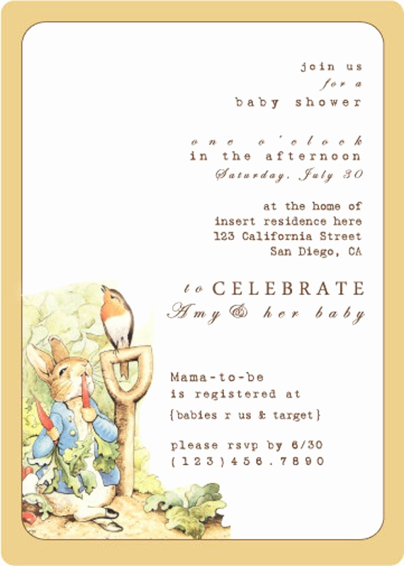 Peter Rabbit Baby Shower Invitation Fresh Peter Rabbit Baby Shower Invitation
