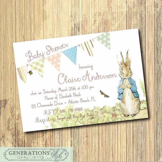 Peter Rabbit Baby Shower Invitation Fresh Peter Rabbit Baby Shower Invitation Printable Digital