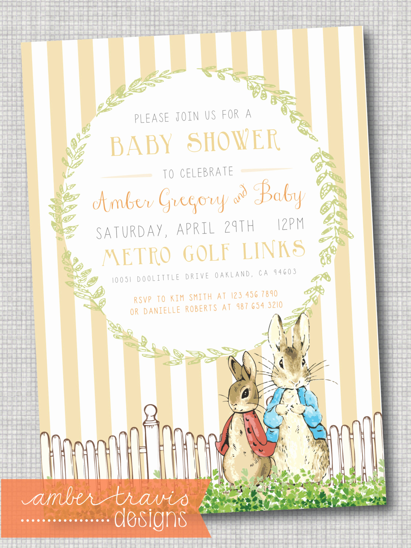 Peter Rabbit Baby Shower Invitation Fresh Peter Rabbit Invitation Peter Rabbit Baby by