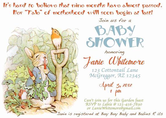 Peter Rabbit Baby Shower Invitation Lovely Beatrix Potter Peter Rabbit themed Baby Shower Invitation