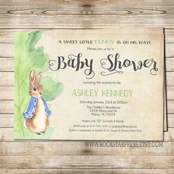 Peter Rabbit Baby Shower Invitation Lovely Peter Rabbit Baby Shower Invitation Digital File Printable