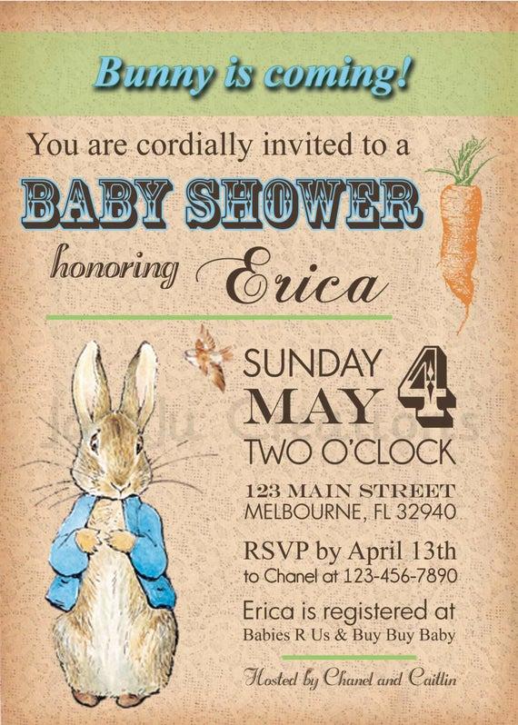 Peter Rabbit Baby Shower Invitation Lovely Vintage Peter Rabbit Baby Shower Invitation by