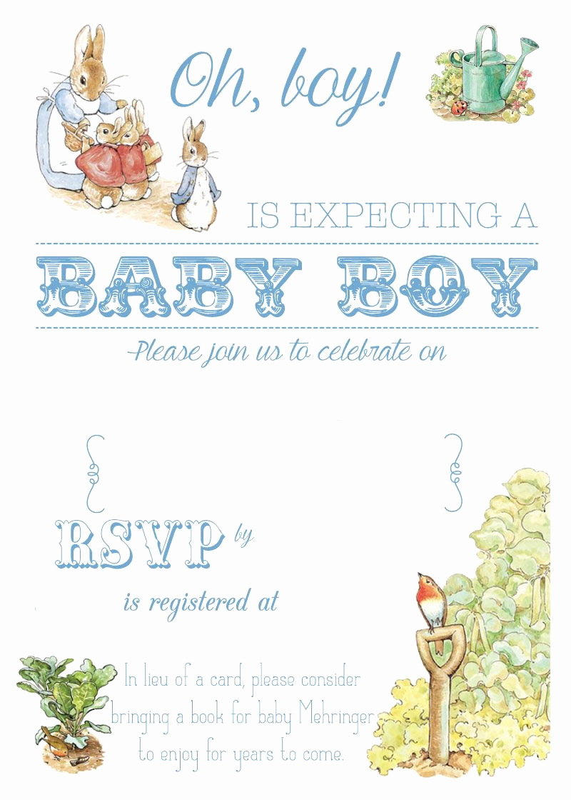 Peter Rabbit Baby Shower Invitation New Free Free Printable Peter Rabbit Baby Shower Invitation