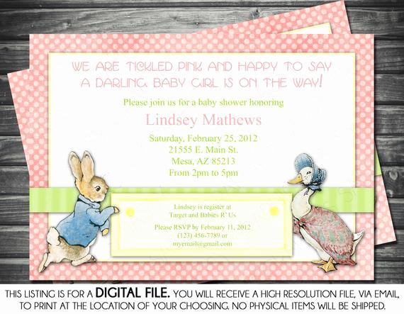 Peter Rabbit Baby Shower Invitation New Girl Baby Shower Invitation Peter Rabbit by